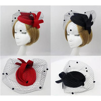 Wholesale New Fashion Womens Embroidered Wool Felt Veil Netting Pillbox Hat Fedora Red Black Color