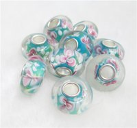 animal beads - Handmade Lampwork Bead Big Hole Flower Charms Glass Beads Fits European Bracelet for Jewelry findings
