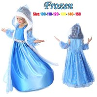 Cheap Girls Christmas Frozen Dress Elsa & Anna Autumn Princess Brand Children Costumes Dress With Hoodies Cape