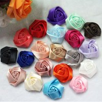 Wholesale cm Large size DIY Baby Satin Rolled Ribbon Rose Flowers fabric rosettes flower women s hair accessories