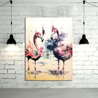 Wholesale Handmade Modern Abstract Decorative Two flamingos Stand In The Water Oil Painting On Canvas Wall Art For Living Room As Unique Gift