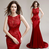 mia 2 - Red Mermaid Elegant Dress To Party Evening Gowns With Peplum Lace Applique See Though Back Formal Pageant Dresses fashion mia LH