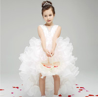 short front long back girls dress - 2015 Designer Kids Dresses White Short Front Long Back Flower Girl Dresses Ruffled Organza High Low Girls Dresses Gowns Party Dresses