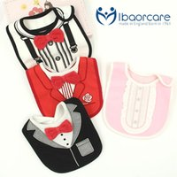 Wholesale Three layers of waterproof genuine Baby Bib Bib cotton tie shape stereo gentleman rice pocket towel slobber