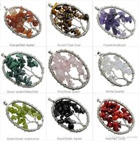 Wholesale Crystal Necklace Pendents - Natural stone Gravel oval Shape gemstone jewelry chip stone beads semi precious stone crystal Keychain pendents necklace for women