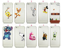 Olaf Super Mario Mickey Minion point Snoopy Spiderman Tiger Dog Logo Clear Case transparent pour iPhone 5S 5C 4S couverture arrière
