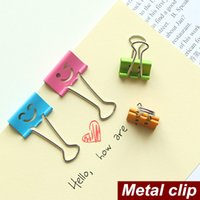 Wholesale 40 Smile Metal clip cute Binder clips for album foto memo paper clips Stationary Office material School supplies
