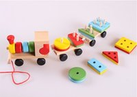 best little car - Little Wooden Drag Trains Toys Kids Best Christmas Gifts Baby Educational Toys Disassembling Combination Shape Matching Fedex DHL Free