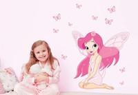 beautiful fairy art - Beautiful Fairy Princess Butterfly Decals Art Mural Wall Sticker Kids Girl Room Decor Pink Color RK44694