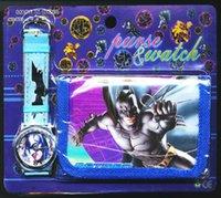 batman wrist watch - Retail Kids Cartoon Batman Wallet and Watches Set Children the Best Gift Fashion Wristwatches Child Boys Wrist Watch