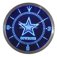 Wholesale nc0503 Dallas Cowboys Neon Sign LED Wall Clock