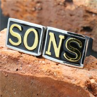 band of boys - Mens boys L Stainless Steel Cool Golden Sons of Anarchy Biker Motorbiker Ring