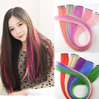 Wholesale factory wigs female clip hair piece color streaked wig piece Seamless Harajuku punk hair to Europe