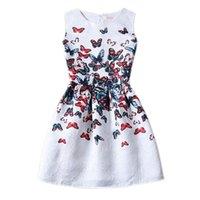 floral print dress - Girls Butterfly Floral Print Dress New Style Slim Casual Dress Big Children Girls Party Evening Elegant Vintage Dress Hot Sale