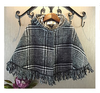 Wholesale Girls Outfit Thick Baby Girls Poncho Cloak Kids Plaid England Tassel Hooded Cloak Winter Outwear Fashion Black and White Plaid Cape Coat