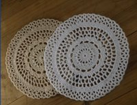 Wholesale Round Edge Crochet Doilies Placemats Shabby Chic Nostalgic Retro Look Sector Physical picture