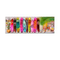 Wholesale Bright Color Summer Surfboard Canvas Art Modern Surfing Picture printing Painting on Canvas Wall Hanging Decoration Unframed X120cm