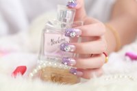 beautiful fake flowers - box slice Lace nails fake nails beautiful Crystal flower fake nails High Quality simple fake nails women