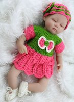 Cheap Sleeping Baby Doll 17 inch Lifelike Silicone Baby Reborn Dolls Toy With Handmade Crocheted Clothes Boxed