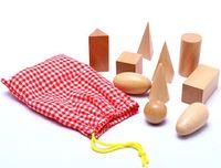 Wholesale Wooden Montessori Geometry Learning Bag Set Educational Cognitive Math Toys set Juguete Oyuncak EducativosTY146