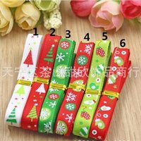 Wholesale printed hair Grosgrain Ribbon bows girl Christmas hair christmas girls hair accessories band Fabrics and Sewing Tools boutique hair bows