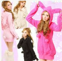 balls bunny - Womens Casual Cute sexy Lolita Fluffy Balls Bunny Ears Sherpa Warm Thicken Hoodie Outerwear Coat top Jacket Sweatshirts