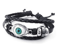 Wholesale Mens Womens Leather Bracelet Blue Evil Eye Adjustable Bangle Black Silver Drop Shipping
