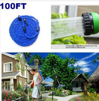 Wholesale 2014 HOT FT Expandable Flexible Garden pipe for Car Water hose reels with spray Gun EU US connector Blue Green