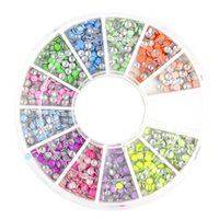 nail studs - 400pcs mm Neon Round Stud Rhinestones Acrylic UV Gel Nail Art Decoration w box Hot Selling Wheel