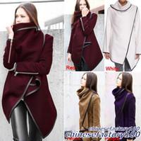 Wholesale New Women Irregular Overcoat Slim Wool Warm Long Winter Coat Jacket Trench Fashion Windbreaker Parka Outwear Stand Collar Outwear