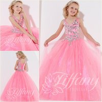Cheap 2014 Pink Girl Pageant Dresses Sequins Tulle Sweep Train Ball Gown Sleeveless V-neck Applique Prom Dresses Ball Gown For Little Girl 2015