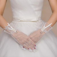 beautiful marriage gauze - The most beautiful bride gloves Korean brief paragraph marriage gauze lace gloves female finger gloves wedding accessories