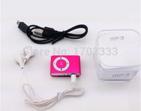 Wholesale Mini Clip Mp3 player No screen Metal style Support Micro SD card gb with earphone USB cables Colorful with Crystal boxes