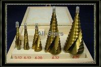 Wholesale 5 HSS Spiral Flute Step Drill Bit Titanium Coated Hole Cut Tool Set Top Quality