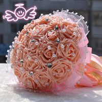 Wholesale 6 Kinds of color Wedding Bridal Bouquet Handmade Satin Rose Pearls And Diamonds Bride Holding Flower Favors Wedding Flowers Bouquets WFD194