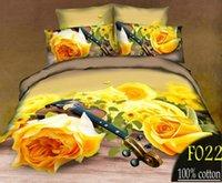 Cheap New arrive! 3D style 4PCS 3D Bedding set 100% Cotton Bed set Tribute silk Duvet cover flower bed linen Bedclothes