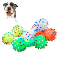 Wholesale Dog Training Supplies Pet Chew Toys Dot Sound Toys Soft Rubber Dumbbell Chewing Toys Random Color HV0010