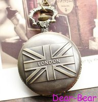 london necklace - DH107 Vintage Bronze London UK Flag The Union Jack Pocket Watch Necklace dandys