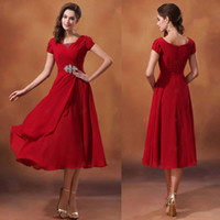 Wholesale Modest Red Prom Dresses With V Neck Short Sleeve A Line Tea Length Chiffon Custom Charming Dress For Pageant Party Bridesmaid Gowns