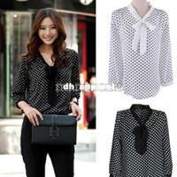 Wholesale Women Blouses Fashion Summer Chiffon Blouse Elegant Dot White Black Bowknot Long Sleeve Casual Blouse Shirt b7 SV001000
