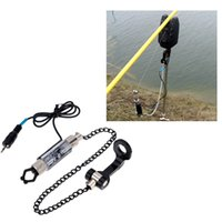 Wholesale 4 Colors LED Illuminated Indicator Fishing Alarm Chain Hanger Fishing Swinger Indicator Fishing Bite Alarm Fishing Tackle Tool order lt no