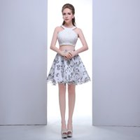Wholesale 2015 Fashion Sexy New halter a line evening party dress short with lace beaded for girls organza homecoming dress pieces