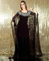 Cheap Hot ! New 2014 Elegant Scoop Neck Long Sleeve Embroidered Black Chiffon Muslim Kaftan Abaya In Dubai Dresses For Party Evening Dresses