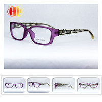 Wholesale 2016 new arrival Black purple crystal women lace floral decorative engraving tr glasses frame