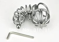 Cheap Wholesale-New Stainless Steel Wire Male Chastity Art Device Cage Cock ring Sex toys A072
