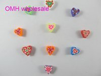 Wholesale OMH x10x10mm Mix Colors Jewelry accessories DIY Flowers Heart shaped Clay Beads ZL643