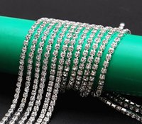 Wholesale 10Yards mm Crystal Rhinestone Chain For Jewelry Diy Making Accessories Sew On Silver Base Density Trim Crystal For Dress Claws Drilling