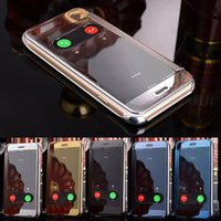 Plastic clear plastic case - For iPhone S Plus Plus Mirror Leather Case Clear Window View Chrome Flip Cover Case for iPone6S iPhone6S iPhone6