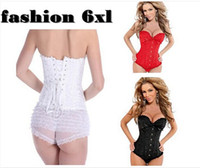 Wholesale Sexy Lingerie Black Red White Lace Bustiers Strapless Embroidered Zipper Front Overbust Corset For Wome Underwear pulg size