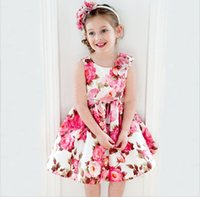 Wholesale Summer Dresses For Kids Sale - 2015 Summer hot sale girls Princess dress sweet style kids one piece dress fashion flowers printed party dresses for children 90-130 T542